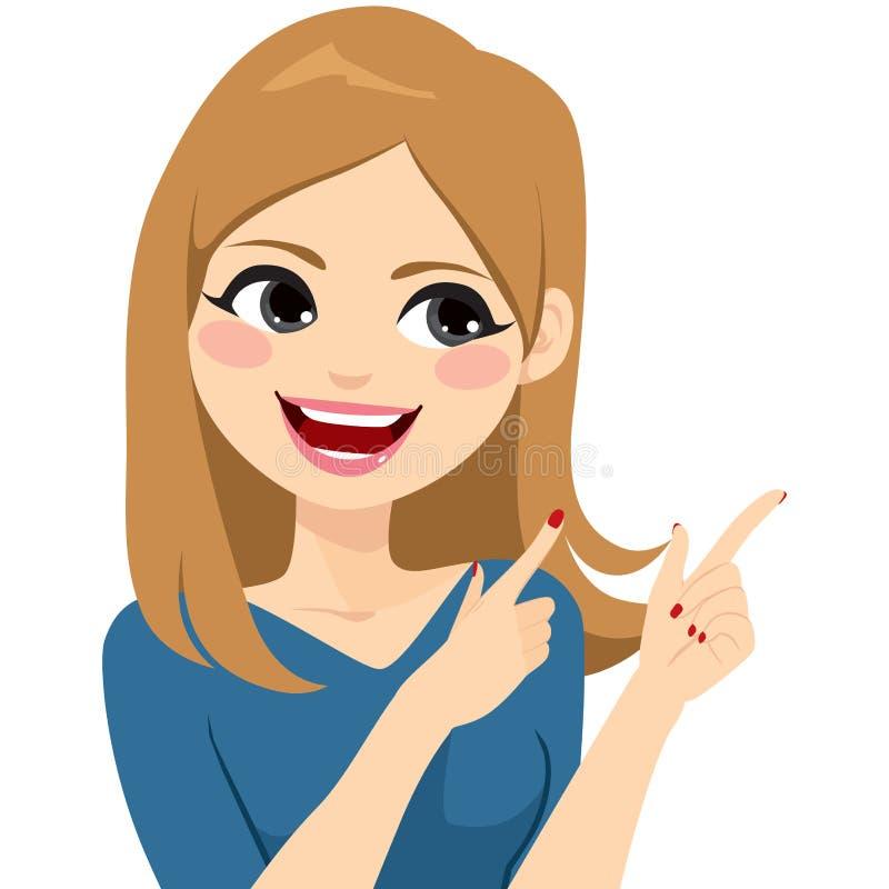 打手势微笑的妇女 向量例证