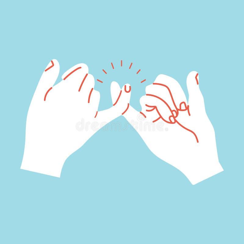 打手势橙色线的诺言手 向量例证