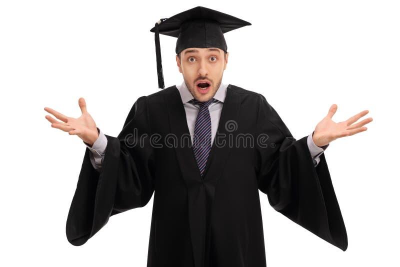打手势用他的手的震惊研究生 免版税图库摄影