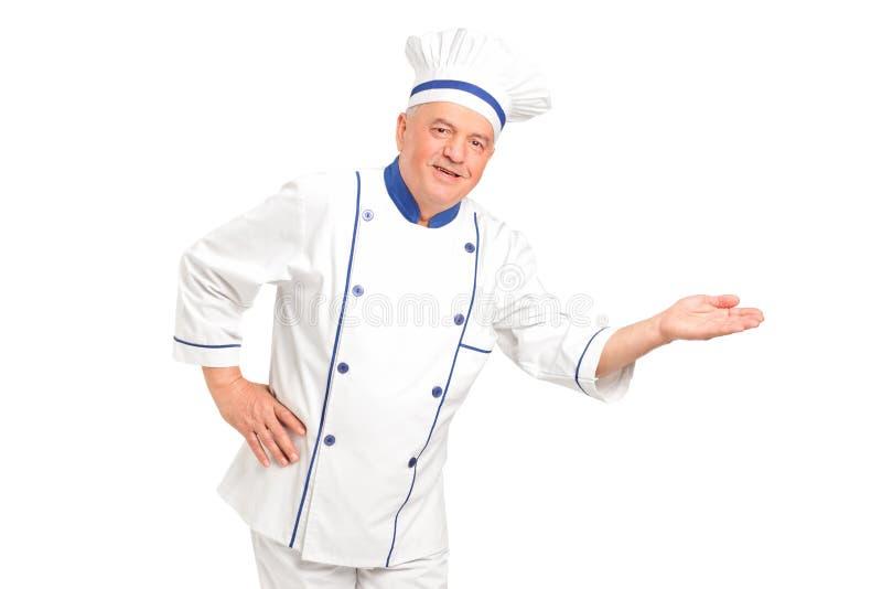 打手势纵向微笑的欢迎的主厨 免版税库存照片