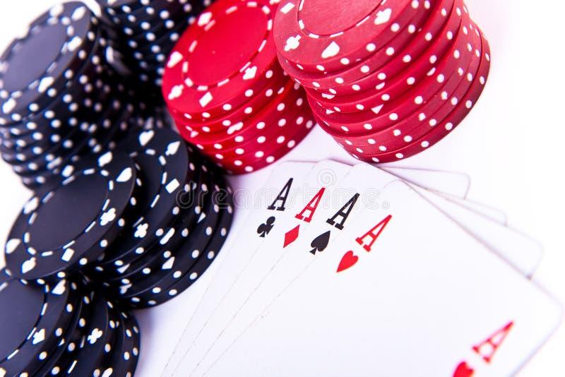 打扑克的看板卡筹码 库存图片