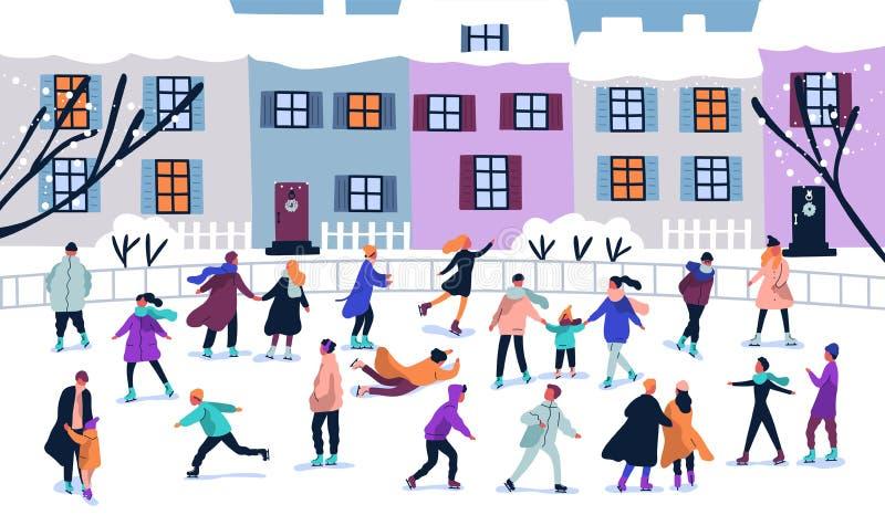打扮在冬季衣服滑冰在溜冰场的微小的人民人群 男人、妇女和孩子季节性外衣的在冰 皇族释放例证