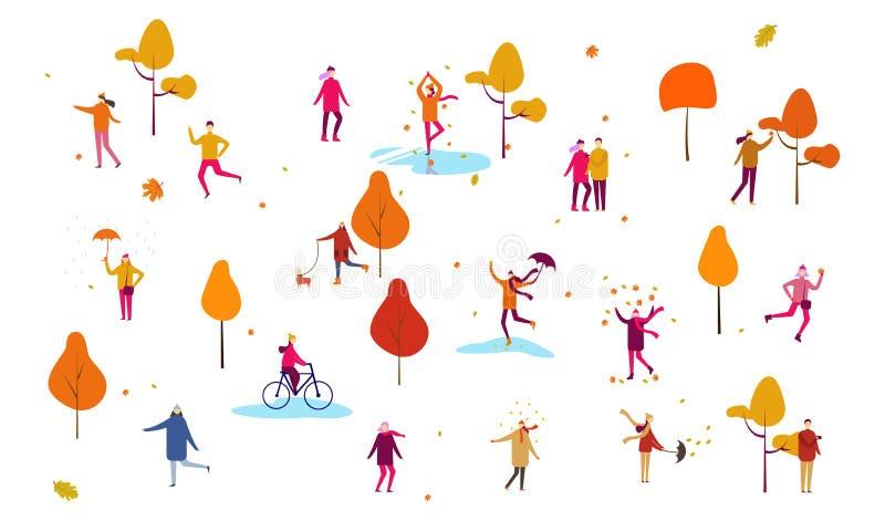 打扮在秋天衣裳或外衣走在街道上和执行室外活动的微小的人民人群 ? 向量例证