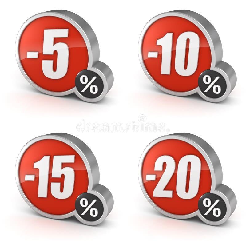 打折5, 10, 15, 20%在白色背景设置的销售3d象 皇族释放例证