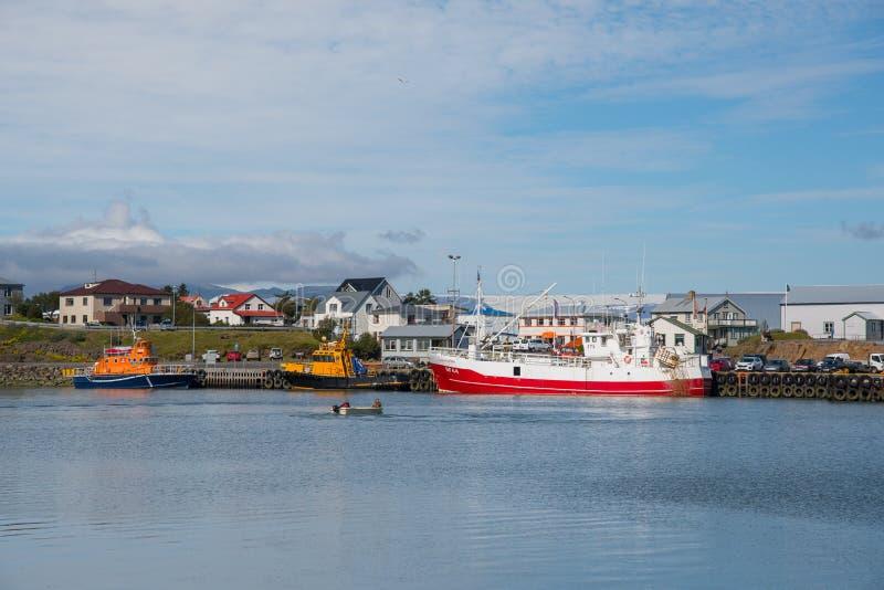 打捞船,领航船和渔船在赫本港  免版税库存图片