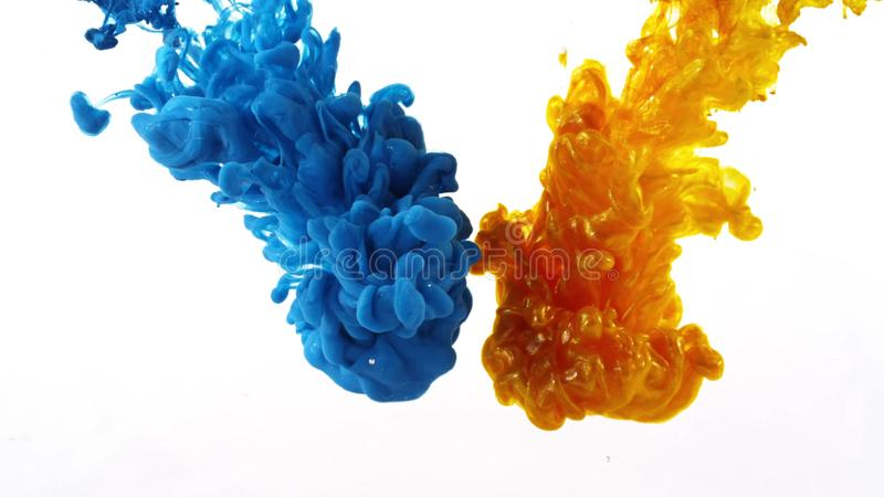 打旋在水,颜色下落中的墨水在行动拍摄的水中 免版税库存照片