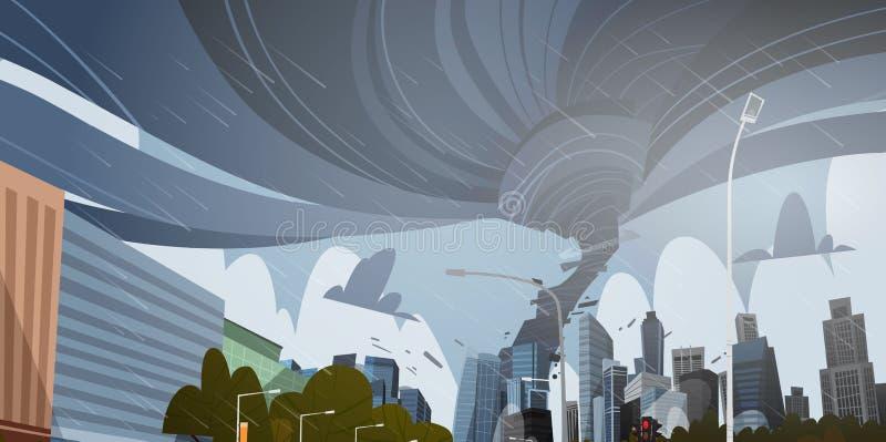 打旋的龙卷风在城市毁坏大厦飓风危险巨大的风排水口扭转者风暴自然灾害概念 向量例证