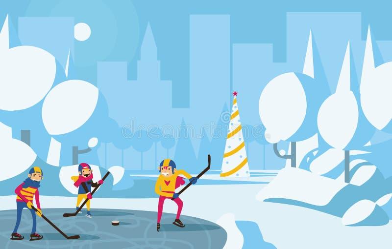 打曲棍球的愉快的家庭在公园在城市 与雪、蓝色和水色颜色,在背景的圣诞树的树 水平的v 向量例证