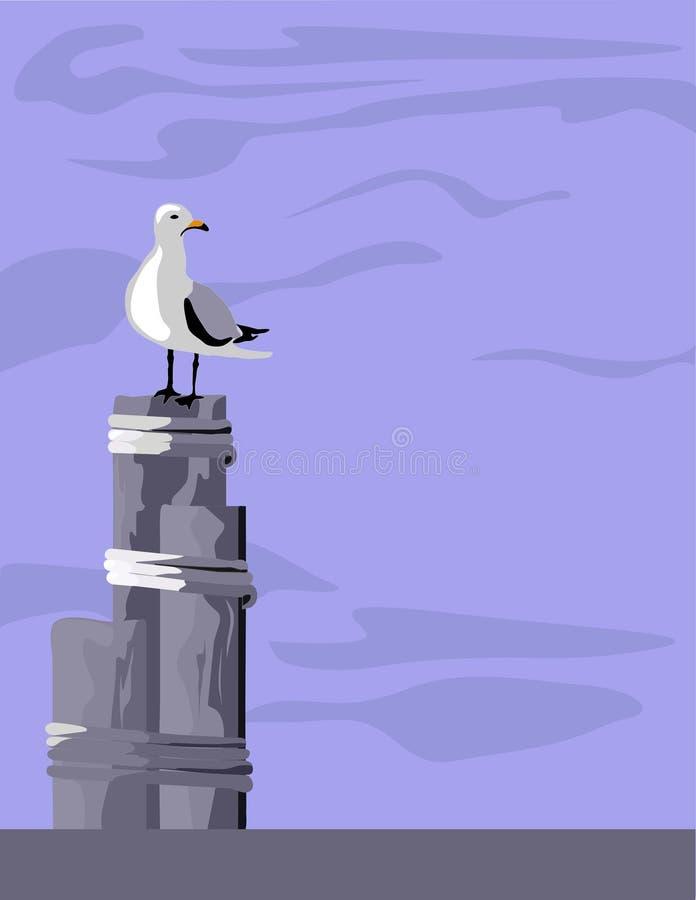 打桩海鸥 皇族释放例证