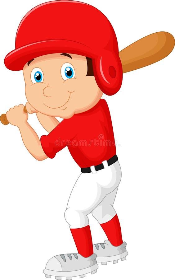打棒球的动画片男孩 皇族释放例证