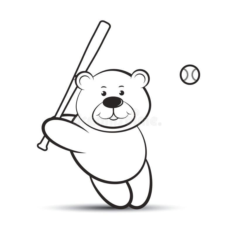 打棒球的逗人喜爱的熊动画片 向量例证