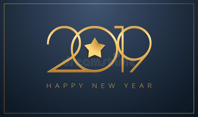 打滑2019年C的新年快乐贺卡金黄星设计 皇族释放例证