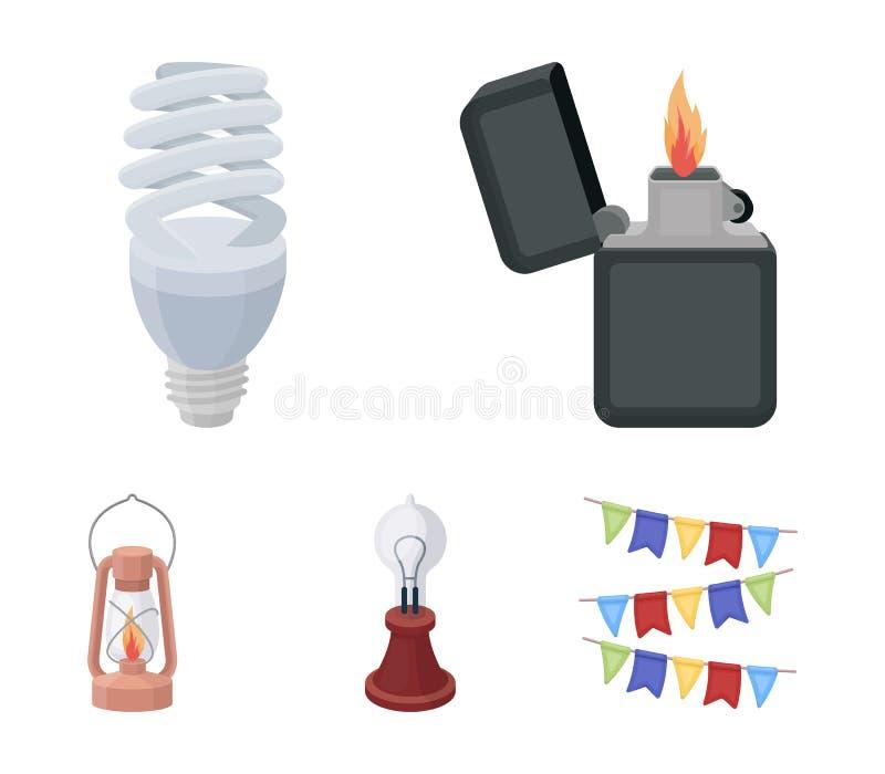 打火机,经济电灯泡,爱迪生灯,煤油灯 在动画片样式传染媒介的光源集合汇集象 向量例证