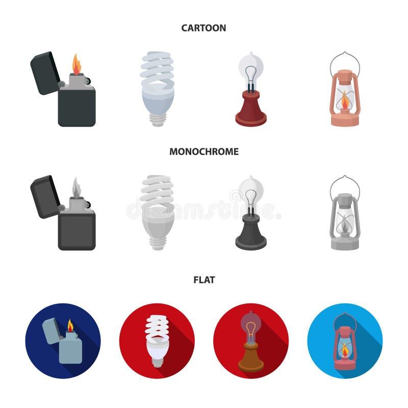 打火机,经济电灯泡,爱迪生灯,煤油灯 在动画片的光源集合汇集象,平,单色 库存例证