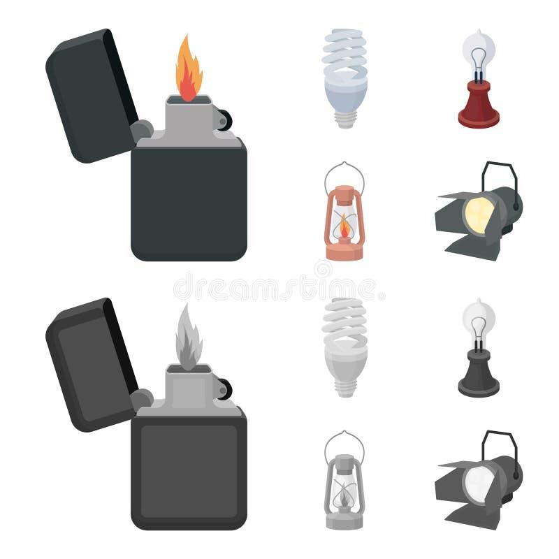 打火机,经济电灯泡,爱迪生灯,煤油灯 在动画片,单色样式的光源集合汇集象 向量例证