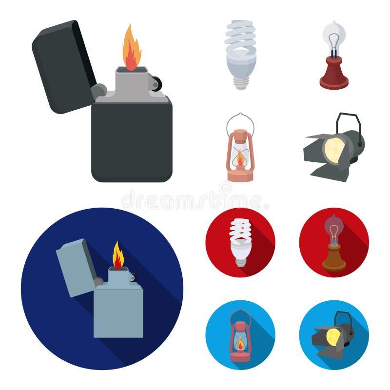 打火机,经济电灯泡,爱迪生灯,煤油灯 在动画片,平的样式的光源集合汇集象 向量例证