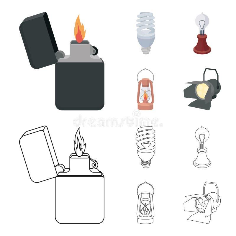 打火机,经济电灯泡,爱迪生灯,煤油灯 在动画片,概述样式的光源集合汇集象 库存例证