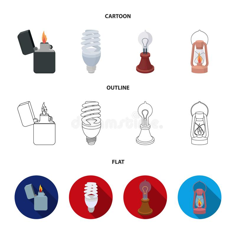 打火机,经济电灯泡,爱迪生灯,煤油灯 在动画片,概述的光源集合汇集象,平 向量例证