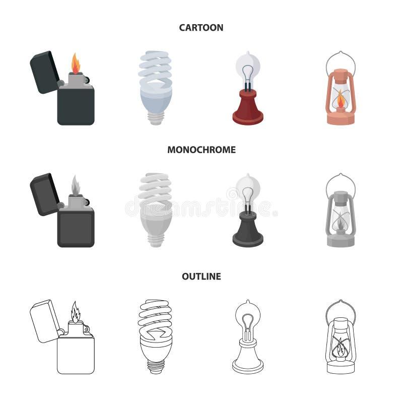 打火机,经济电灯泡,爱迪生灯,煤油灯 在动画片,概述的光源集合汇集象 向量例证
