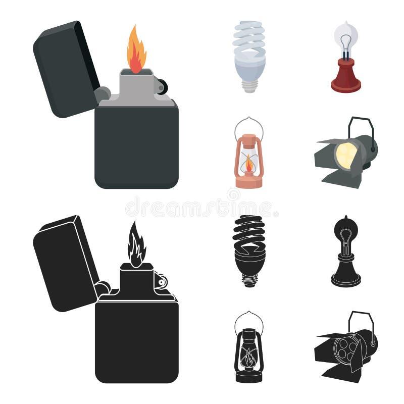 打火机,经济电灯泡,爱迪生灯,煤油灯 在动画片,黑样式的光源集合汇集象 皇族释放例证