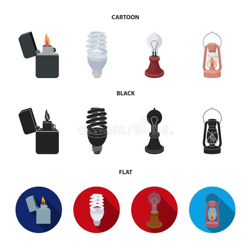 打火机,经济电灯泡,爱迪生灯,煤油灯 在动画片,黑色,平的样式的光源集合汇集象 皇族释放例证