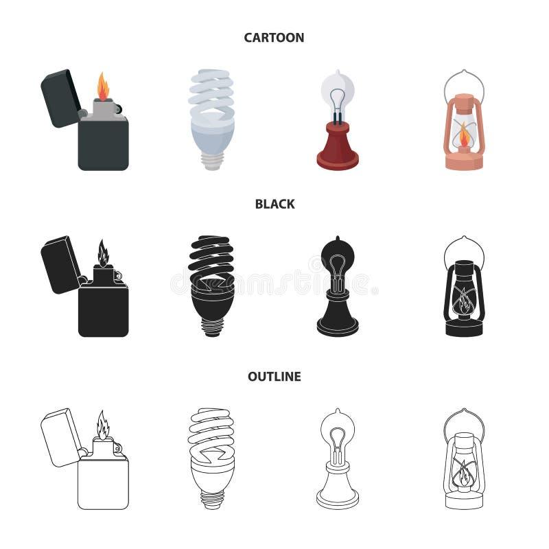 打火机,经济电灯泡,爱迪生灯,煤油灯 在动画片,黑色,概述的光源集合汇集象 库存例证