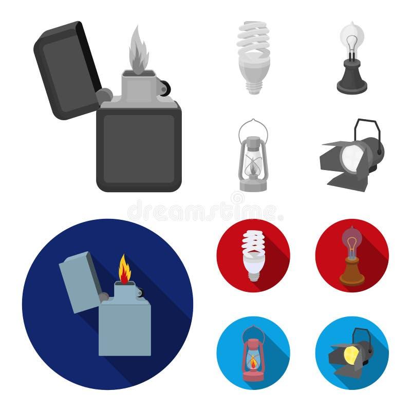打火机,经济电灯泡,爱迪生灯,煤油灯 在单色,平的样式的光源集合汇集象 向量例证