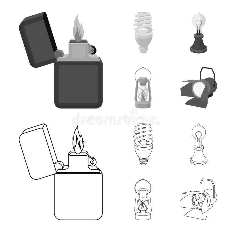 打火机,经济电灯泡,爱迪生灯,煤油灯 在概述,单色样式的光源集合汇集象 皇族释放例证