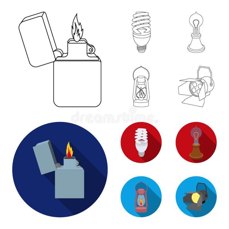 打火机,经济电灯泡,爱迪生灯,煤油灯 在概述,平的样式的光源集合汇集象 向量例证
