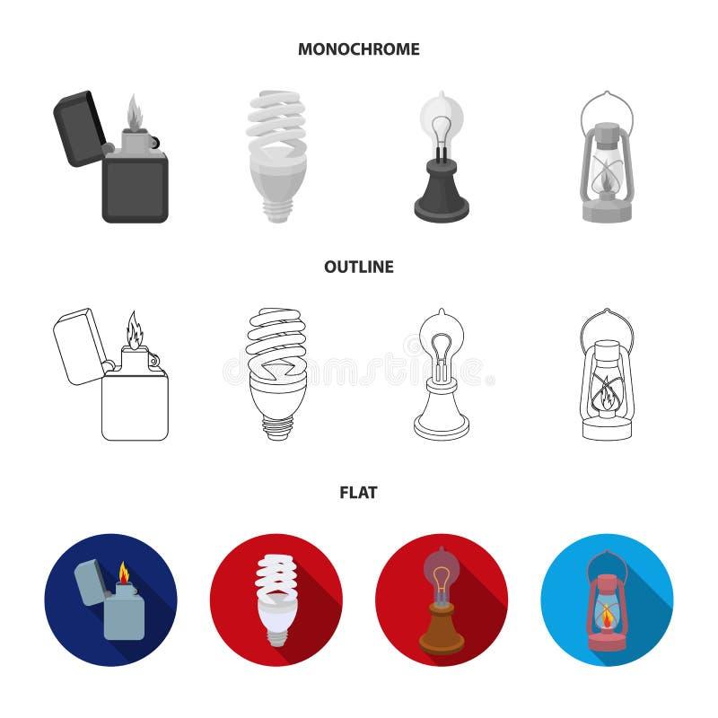 打火机,经济电灯泡,爱迪生灯,煤油灯 在舱内甲板,概述的光源集合汇集象,单色 皇族释放例证