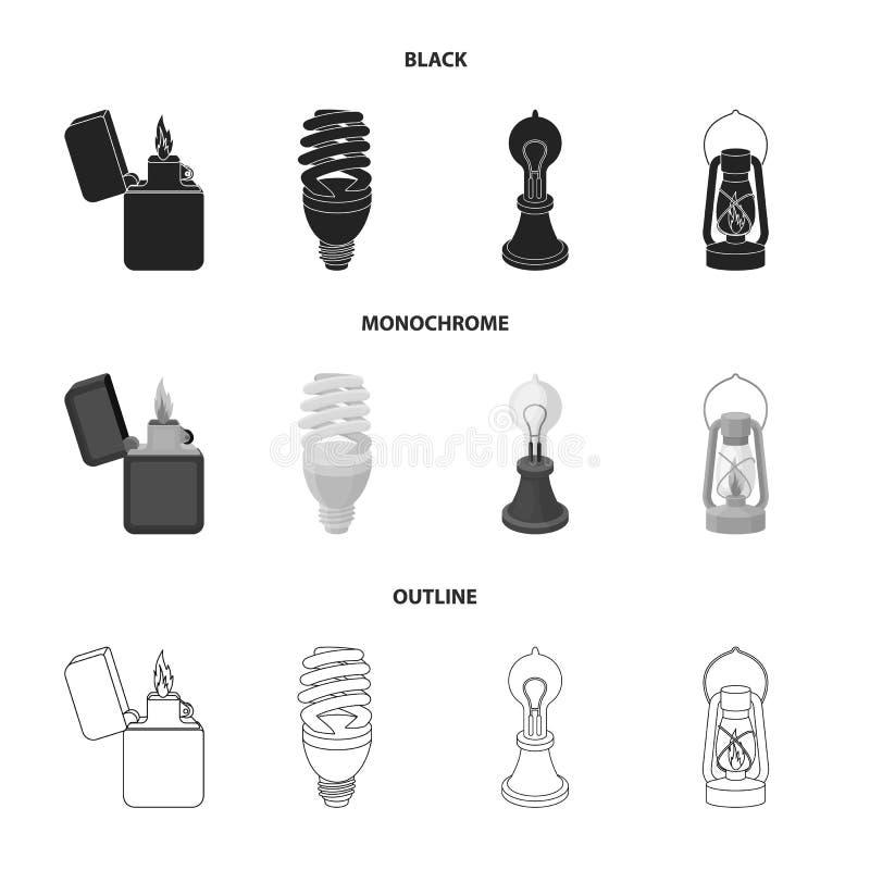 打火机,经济电灯泡,爱迪生灯,煤油灯 在黑的光源集合汇集象,单色,概述 皇族释放例证