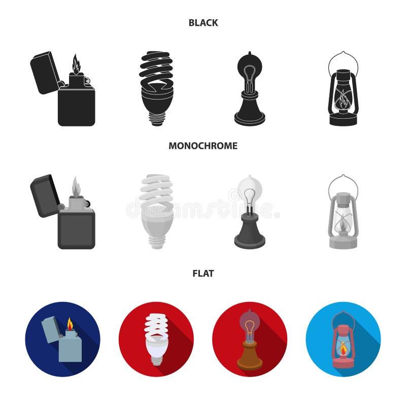 打火机,经济电灯泡,爱迪生灯,煤油灯 在黑的光源集合汇集象,平,单色 向量例证