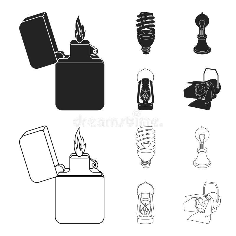 打火机,经济电灯泡,爱迪生灯,煤油灯 在黑色,概述样式的光源集合汇集象 库存例证