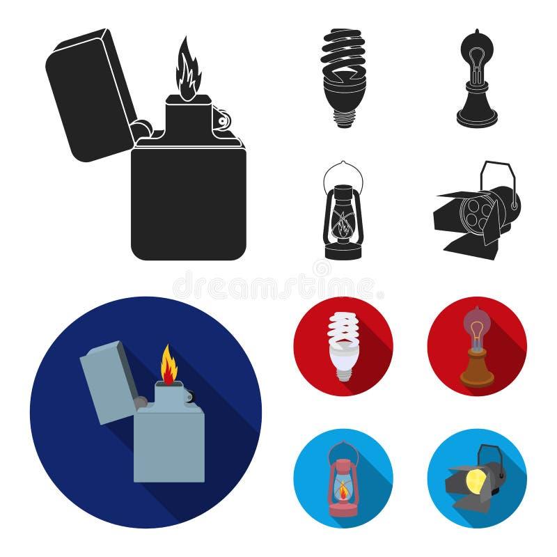 打火机,经济电灯泡,爱迪生灯,煤油灯 在黑,平的样式传染媒介的光源集合汇集象 皇族释放例证