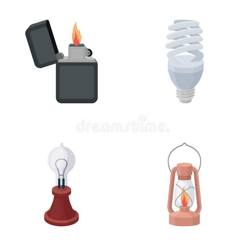 打火机,经济电灯泡,爱迪生灯,煤油灯 在动画片样式传染媒介的光源集合汇集象 库存例证