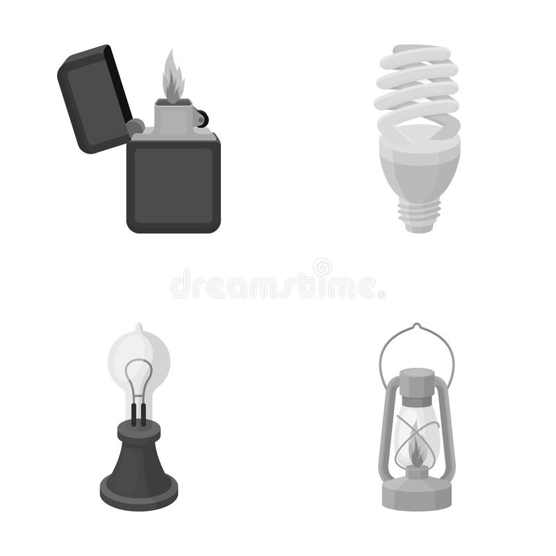 打火机,经济电灯泡,爱迪生灯,煤油灯 在单色样式传染媒介的光源集合汇集象 库存例证