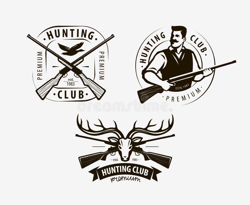 打猎俱乐部 寻线徽标,图标 矢量插图 皇族释放例证
