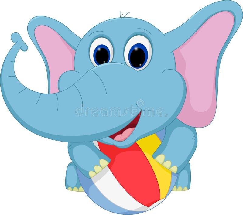 打球的愉快的大象动画片 向量例证