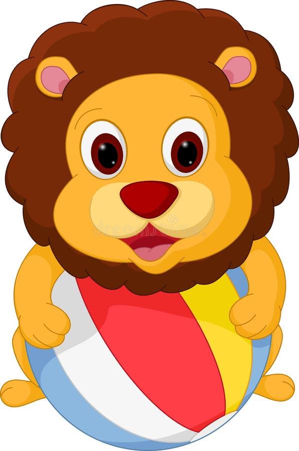 打球的愉快的狮子动画片 皇族释放例证