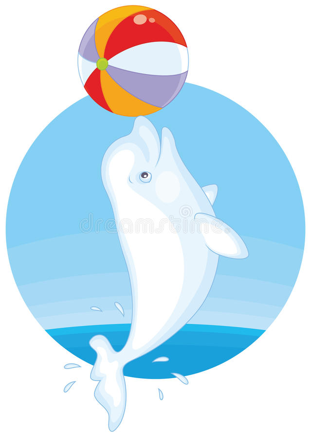 打球的白海豚 库存例证