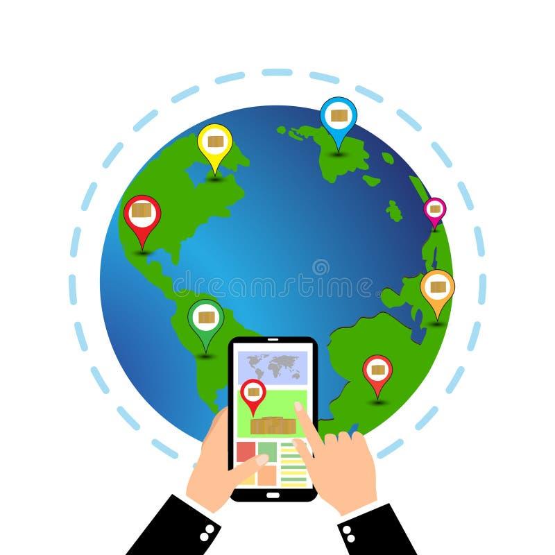 打电话与接口货物服务的流动app在屏幕上 向量例证