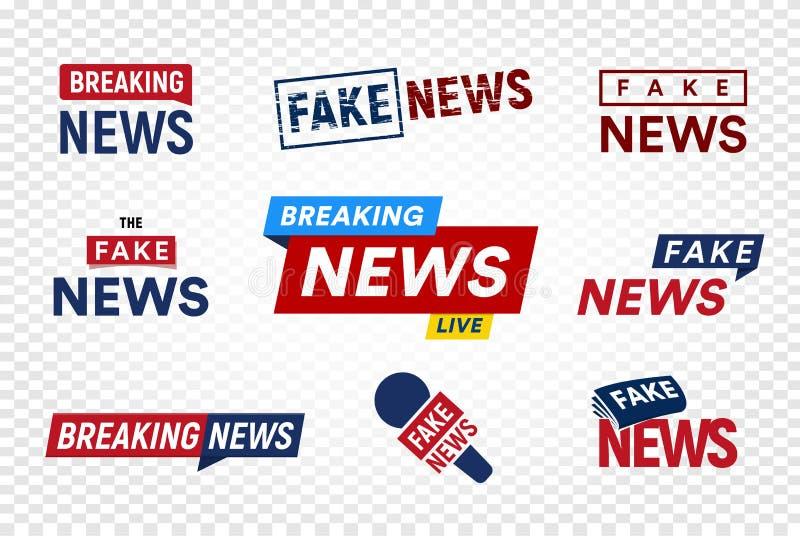 打破和在透明背景的假新闻商标模板 标题电视邮票 国际新闻传染媒介例证集合 库存例证