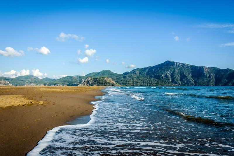 打破和形成海的波浪在一个沙滩起泡沫在clea下 库存照片