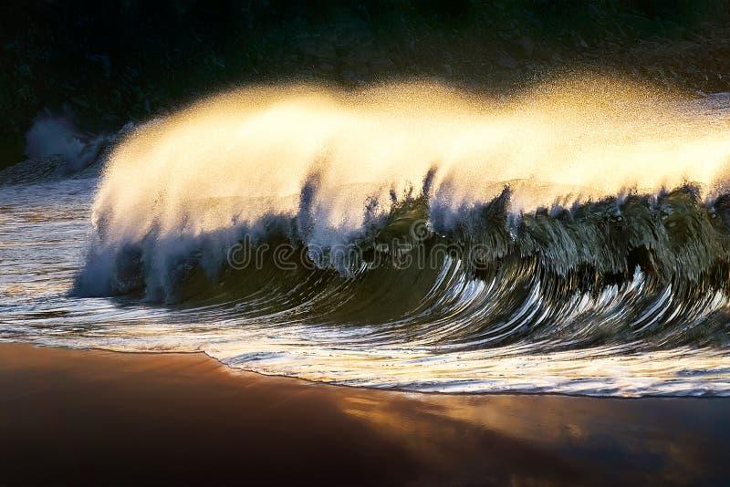 打破在海滩的偏僻的波浪 免版税库存照片