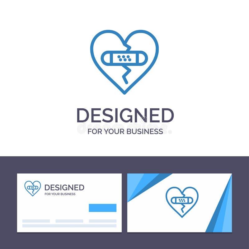 打破的创造性的名片和商标模板,情感,饶恕,心脏,爱传染媒介例证 向量例证