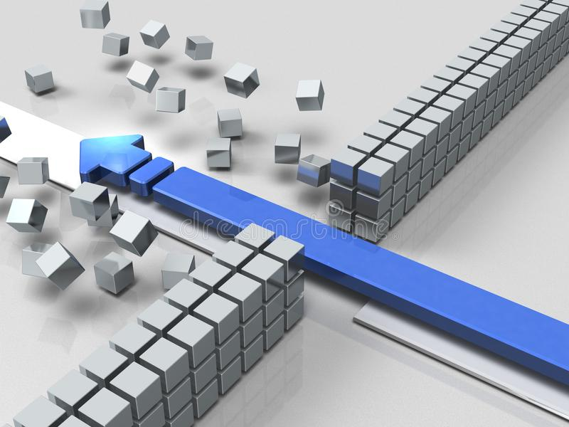 打破障碍的箭头表明成功 库存例证