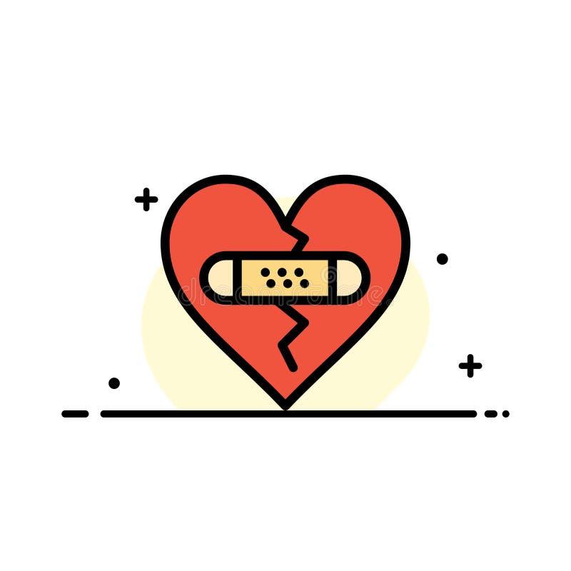 打破,情感,饶恕,心脏,爱企业平的线填装了象传染媒介横幅模板 库存例证