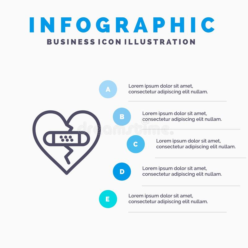 打破,情感,饶恕,心脏,爱线象有5步介绍infographics背景 库存例证