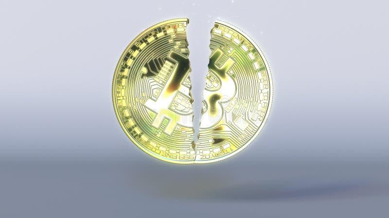 打破bitcoin象征 Cryptocurrency危机概念3D翻译 免版税库存照片