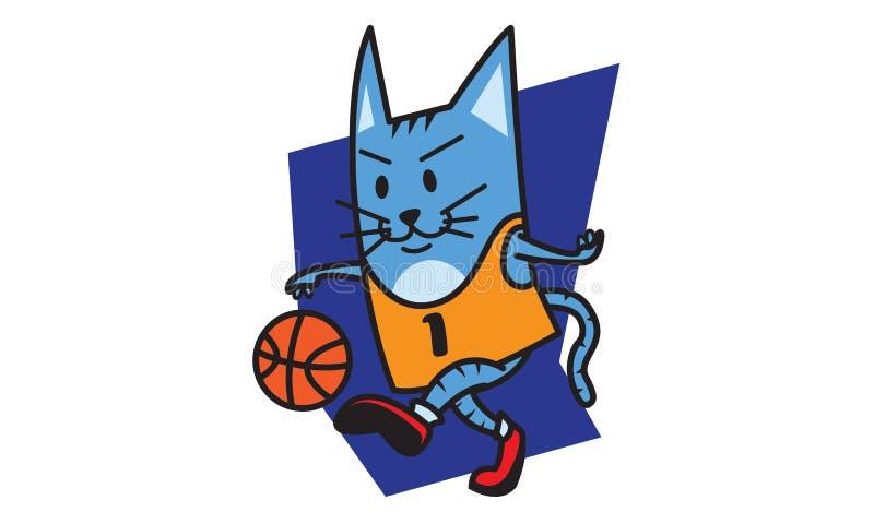 打篮球的猫 向量例证